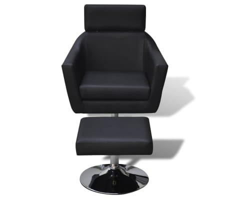vidaXL TV Armchair Artificial Leather Black[2/7]