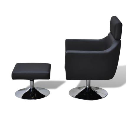 vidaXL TV Armchair Artificial Leather Black[3/7]