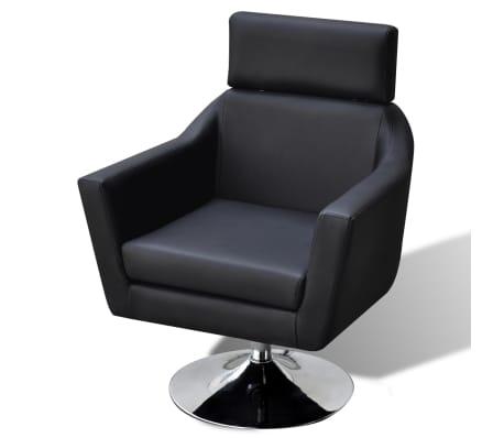 vidaXL TV Armchair Artificial Leather Black[4/7]