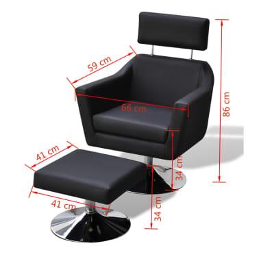 vidaXL TV Armchair Artificial Leather Black[7/7]