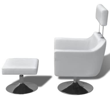 vidaXL mākslīgās ādas TV atpūtas krēsls, balts[3/7]