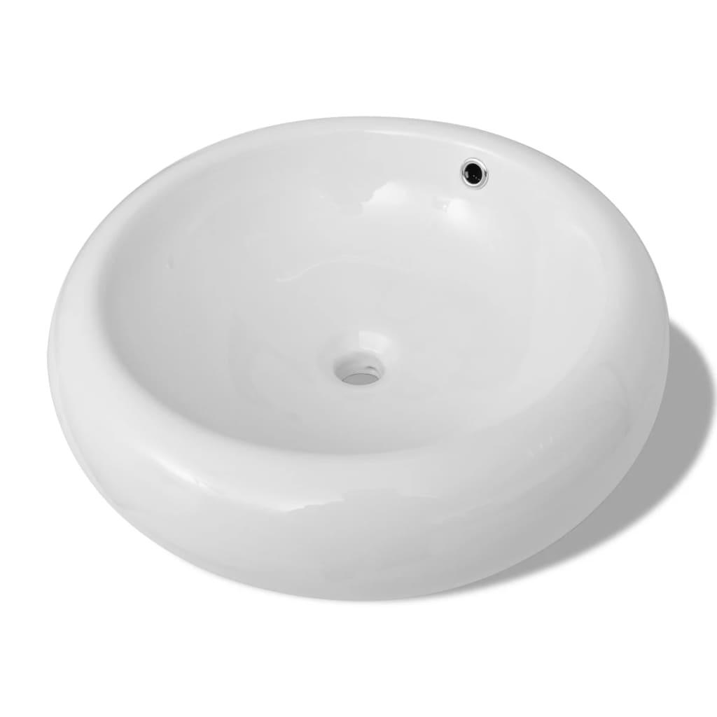 Afbeelding van vidaXL Luxe keramische wasbak rond met overloop 50 x 50 cm (wit)