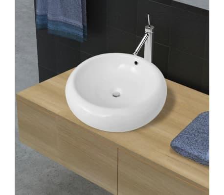 acheter luxueuse vasque c ramique ronde avec trop plein 50 x 50 cm pas cher. Black Bedroom Furniture Sets. Home Design Ideas