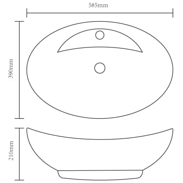 Luxury Ceramic Basin Oval with Overflow and Faucet Hole[6/7]