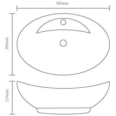 vidaXL Lavabo Ceramica Lusso Ovale Foro di Scarico e Foro Rubinetto[6/7]