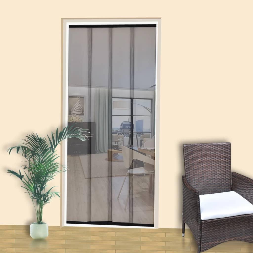 Dveře proti hmyzu se 4 záclonami 220 x 100 cm, černý polyester