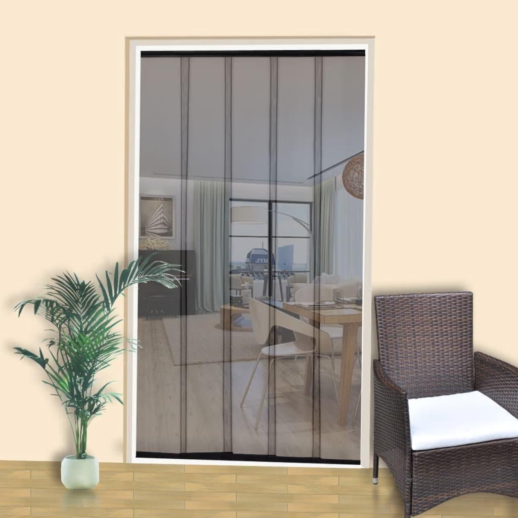 Dveře proti hmyzu s 5 záclonami 220 x 125 cm, černý polyester
