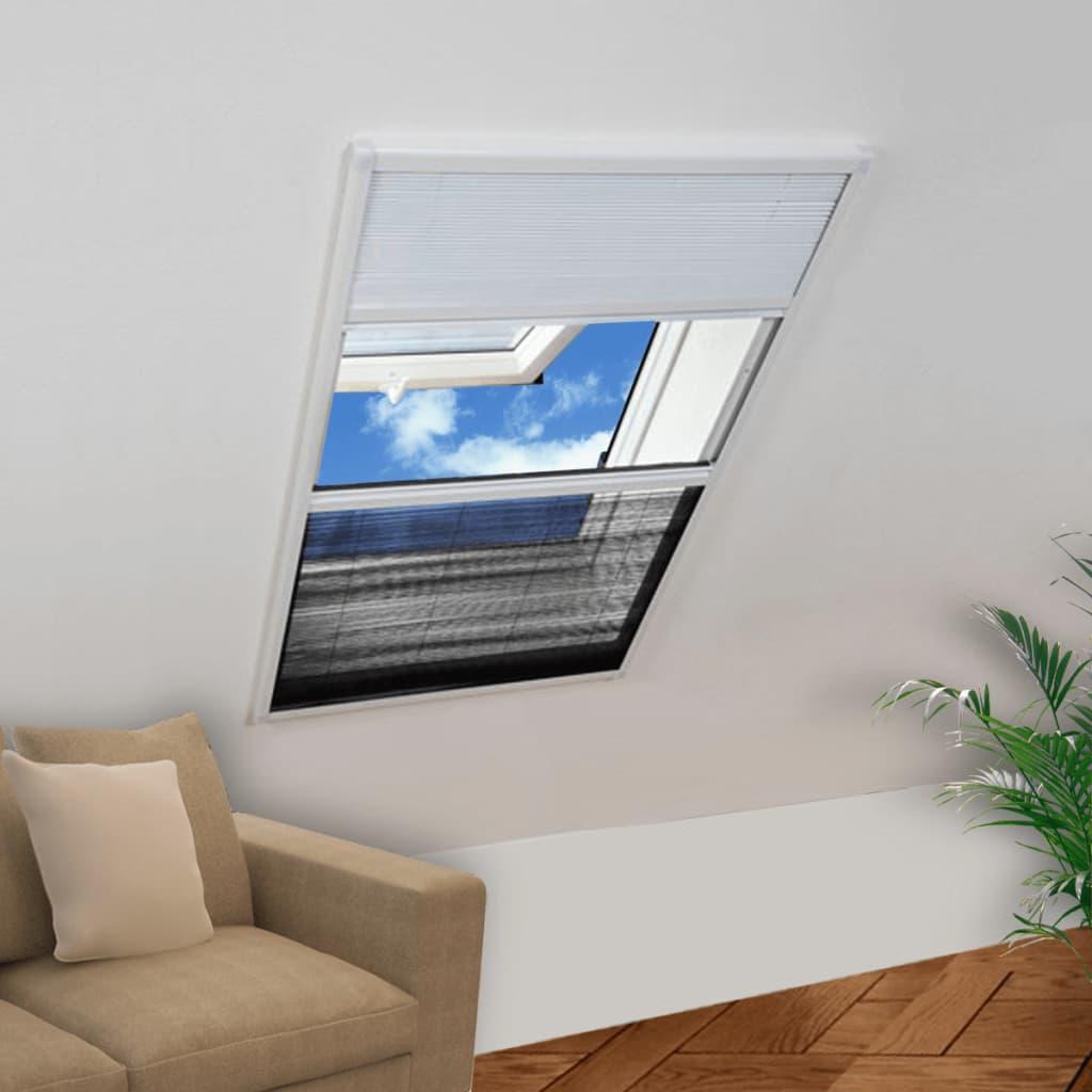 99141131 Plisse Insektenschutzfenster mit Jalousie Aluminium 160×80 cm