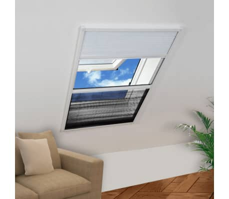 "vidaXL Insect Plisse Screen Window Aluminum 63""x43.3"" with Shade[1/8]"