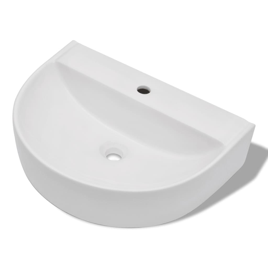Afbeelding van vidaXL Luxe keramische wasbak half rond 60 x 44 cm (wit)