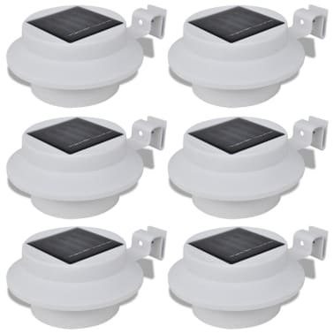 Outdoor Solar Lamp Set 6 pcs Fence Light Gutter Light White[1/9]
