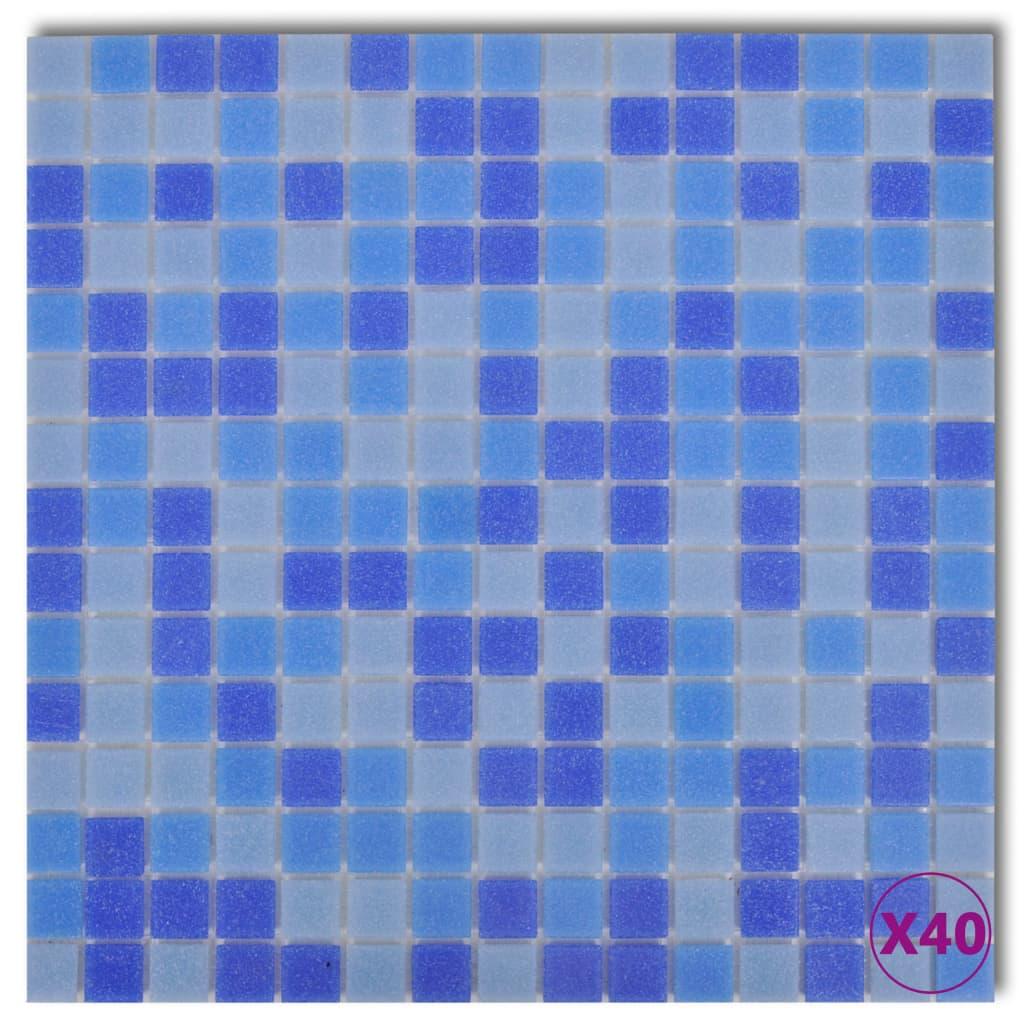 Dale Sticlă Mozaic Albastru și Bleu 40 buc 4,28 mp poza vidaxl.ro