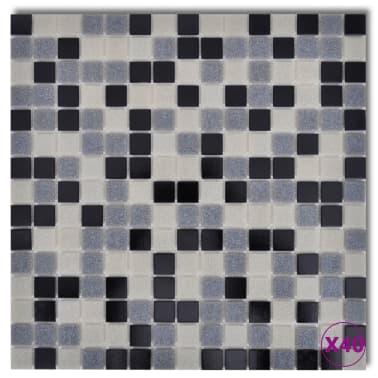 40x Glass Mosaik Fliesen Schwarz Weiß Grau 428 Qm Günstig Kaufen