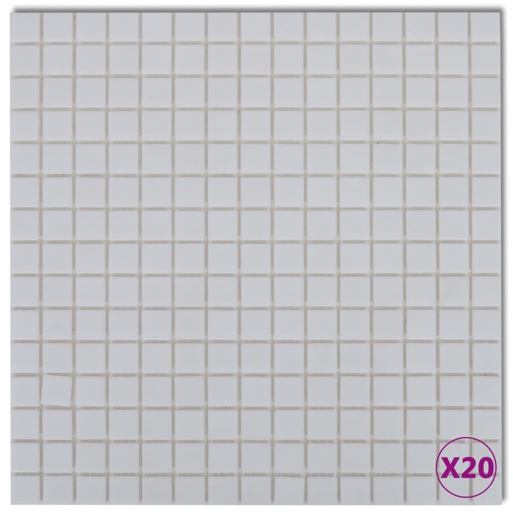 Afbeelding van vidaXL Mozaïektegels glas wit 20 stuks (1,8 m2)