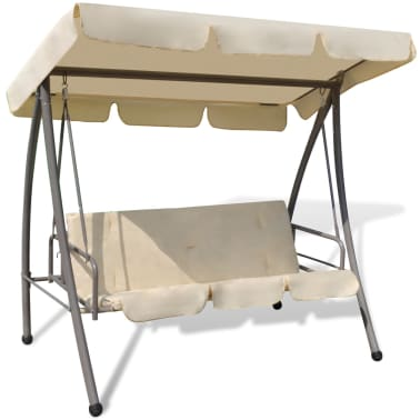 Outdoor Swing Chair / Bed with Canopy Sand White[2/7]