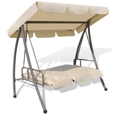 Outdoor Swing Chair / Bed with Canopy Sand White[4/7]