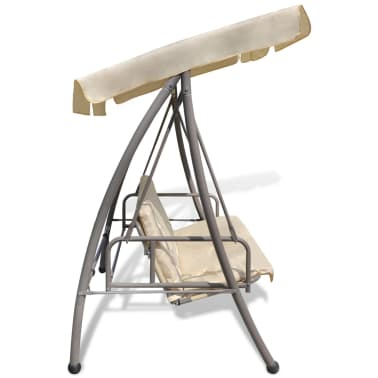 Outdoor Swing Chair / Bed with Canopy Sand White[5/7]