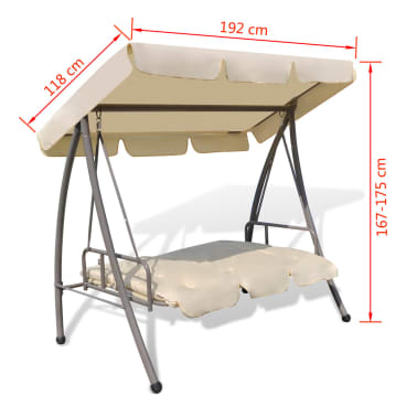 Outdoor Swing Chair / Bed with Canopy Sand White[7/7]