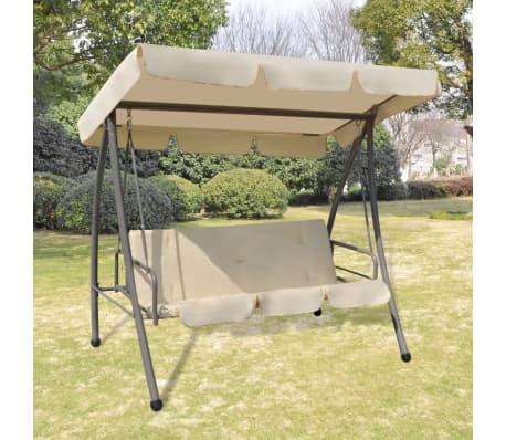 Outdoor Swing Chair / Bed With Canopy Sand White[1/7]
