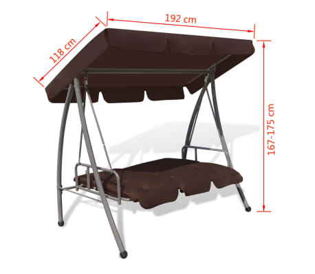 Outdoor Swing Chair / Bed with Canopy Coffee[7/7]