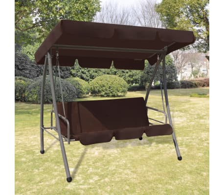 Outdoor Swing Chair Bed With Canopy Coffee Vidaxl Com Au