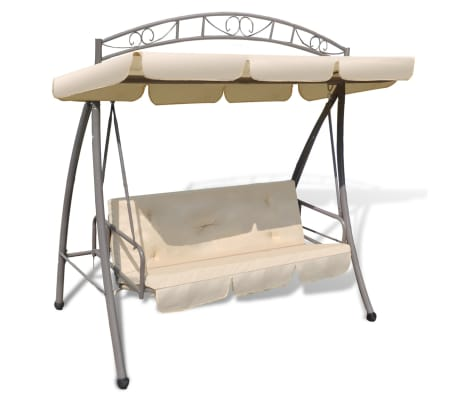 Outdoor Swing Chair / Bed Canopy Patterned Arch Sand White[1/7]