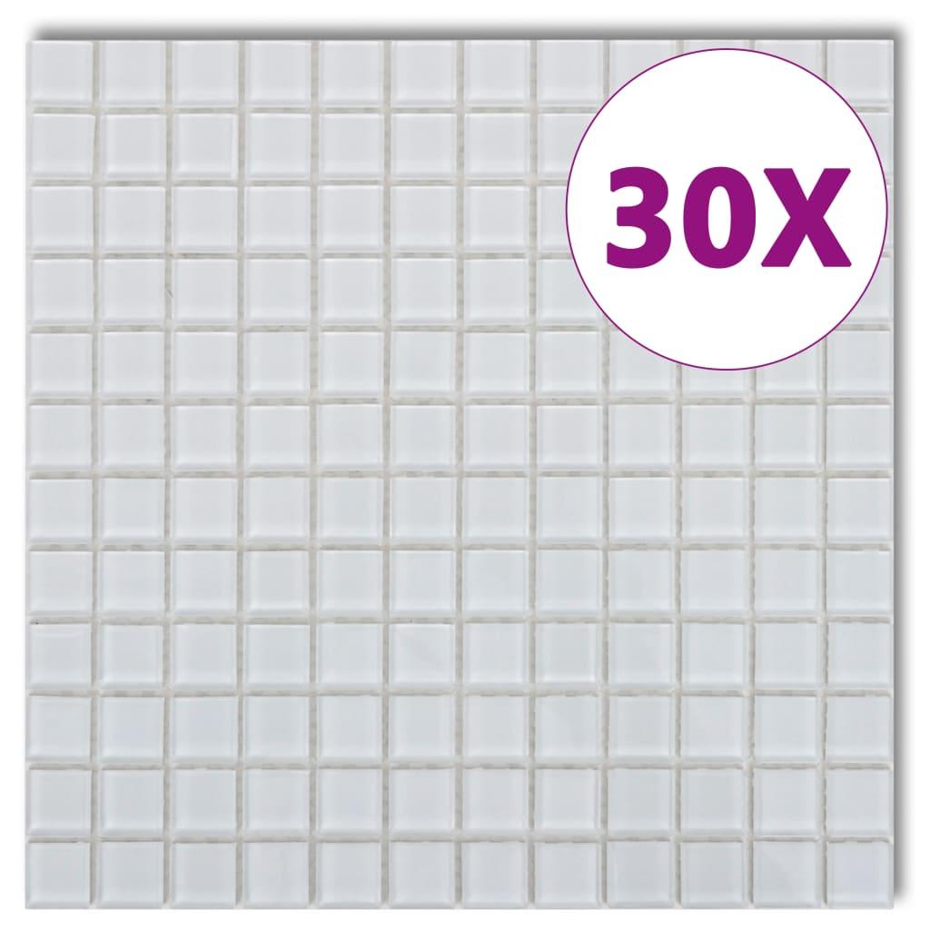 Afbeelding van vidaXL Mozaïektegels glas wit 30 stuks (2,7 m2)