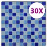 Balto ir Mėlyno Stiklo Mozaikos Plytelės, 30 vnt. (2,7 kv.m)