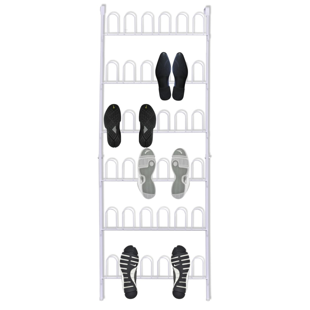vidaXL White Steel Shoe Rack for 18 Pairs of Shoes