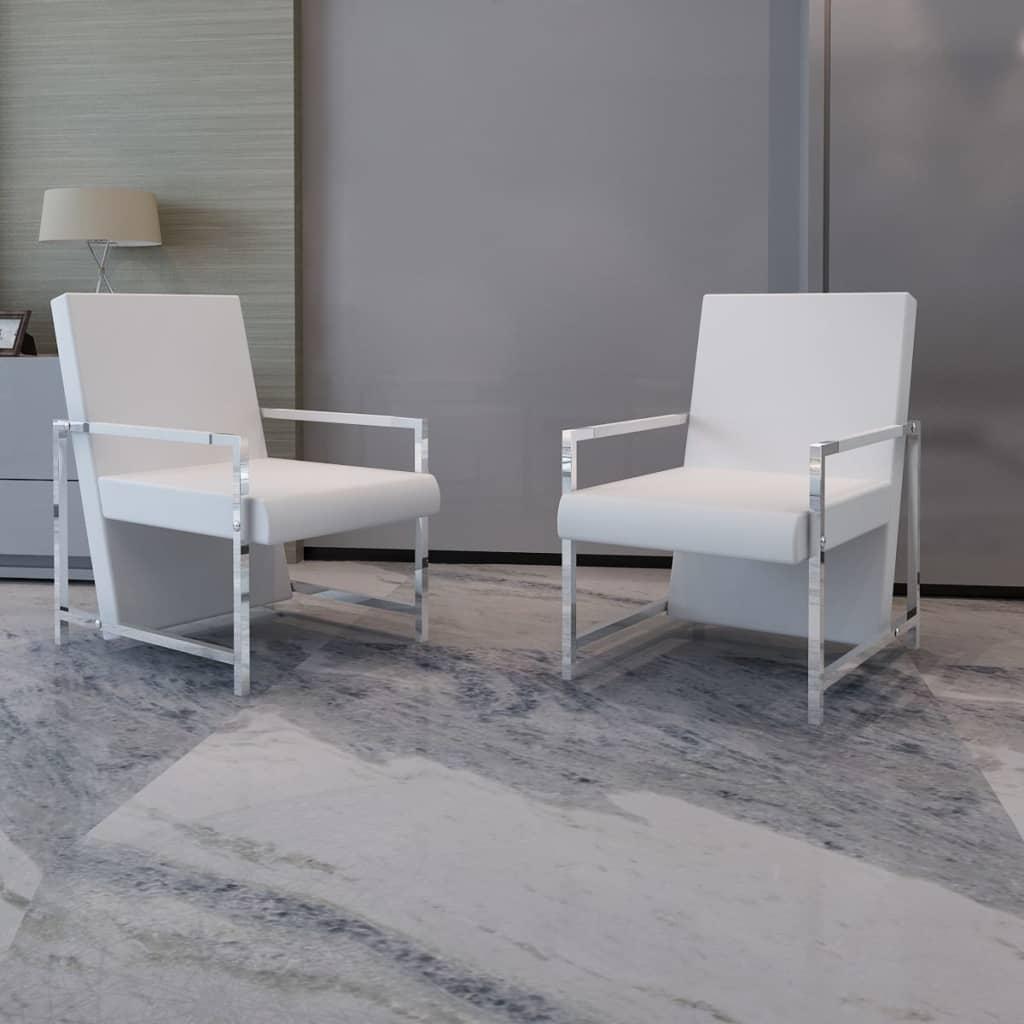 Fauteuil design met chromen voeten wit (2 stuks)