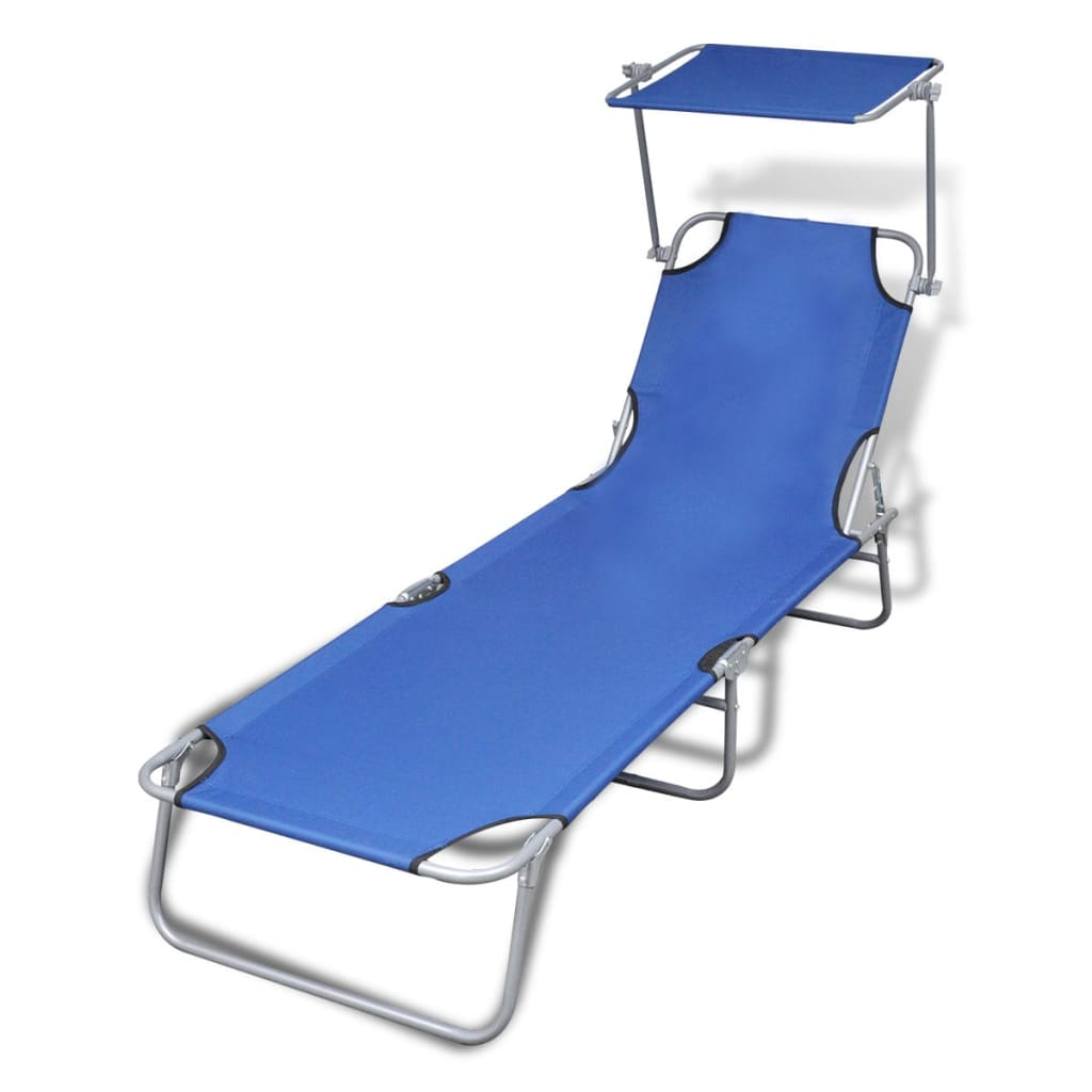 vidaXL Outdoor Sunlounger Foldable with Canopy Blue 189 x 58 27 cm