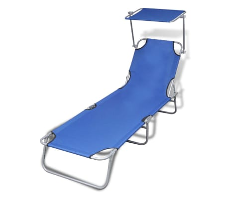 vidaXL Outdoor Sunlounger Foldable with Canopy Blue 189 x 58 x 27 cm[1/7]
