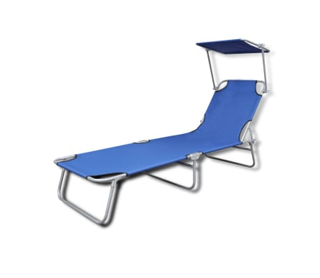 vidaXL Outdoor Sunlounger Foldable with Canopy Blue 189 x 58 x 27 cm[2/7]