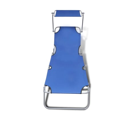 vidaXL Outdoor Sunlounger Foldable with Canopy Blue 189 x 58 x 27 cm[3/7]