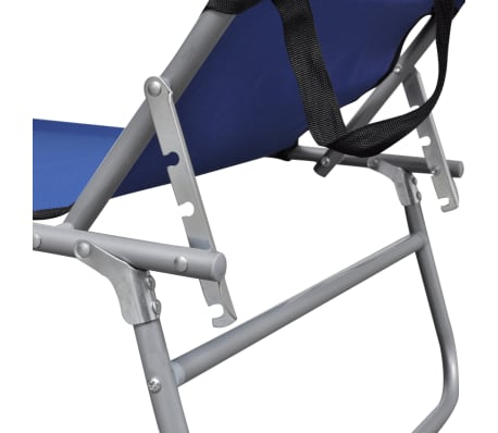vidaXL Outdoor Sunlounger Foldable with Canopy Blue 189 x 58 x 27 cm[4/7]