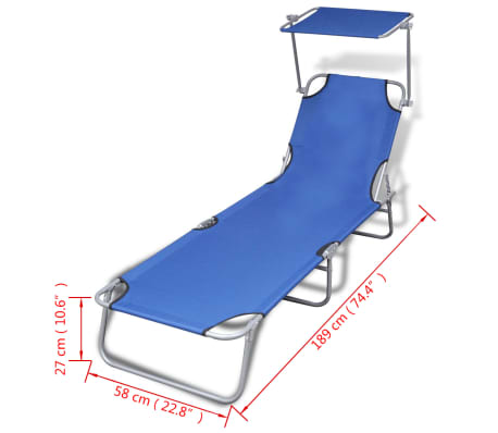 vidaXL Outdoor Sunlounger Foldable with Canopy Blue 189 x 58 x 27 cm[7/7]