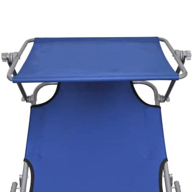vidaXL Outdoor Sunlounger Foldable with Canopy Blue 189 x 58 x 27 cm[5/7]