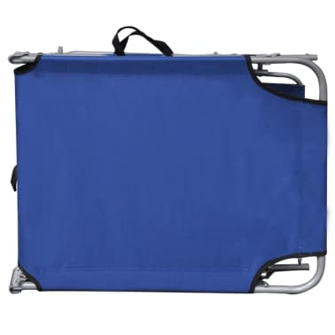 vidaXL Outdoor Sunlounger Foldable with Canopy Blue 189 x 58 x 27 cm[6/7]