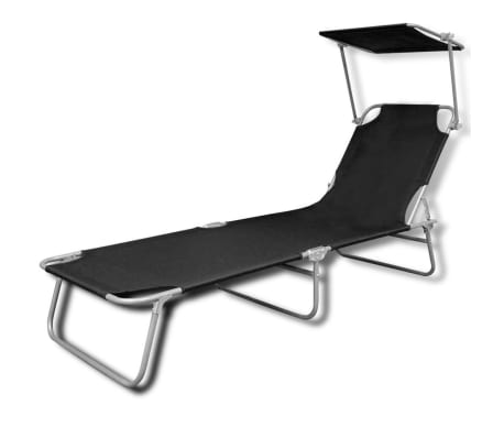 vidaXL Outdoor Sunlounger Foldable with Canopy Black 189 x 58 x 27 cm[2/7]