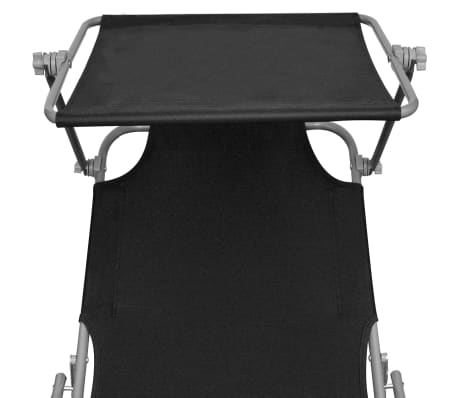 vidaXL Outdoor Sunlounger Foldable with Canopy Black 189 x 58 x 27 cm[4/7]