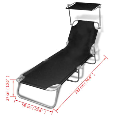 vidaXL Outdoor Sunlounger Foldable with Canopy Black 189 x 58 x 27 cm[7/7]