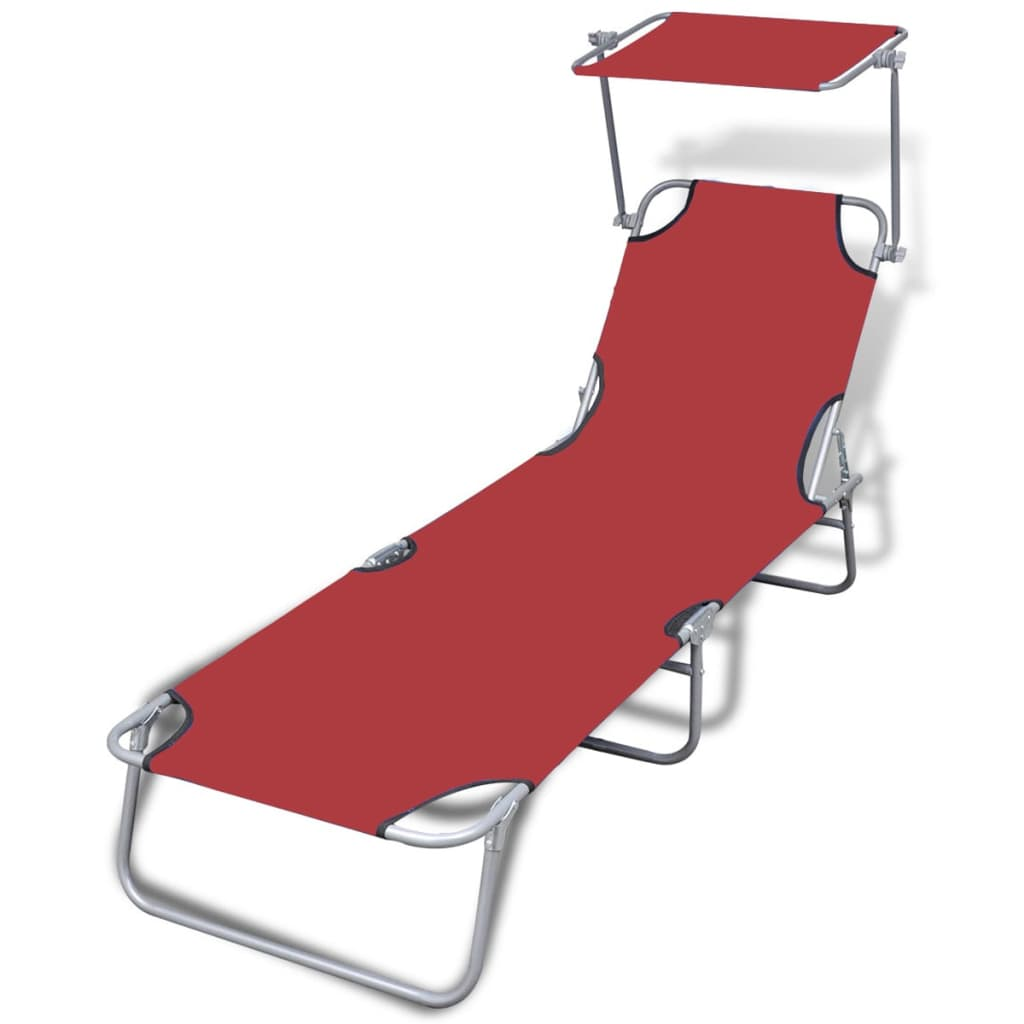 vidaXL Outdoor Sunlounger Foldable with Canopy Red 189 x 58 27 cm