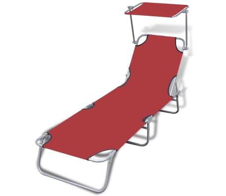 vidaXL Folding Sun Lounger with Canopy Steel and Fabric Red[1/7]