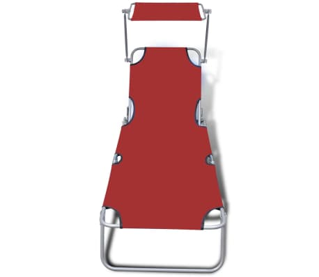 vidaXL Klappliege mit Sonnendach Stahl und Stoff Rot[3/7]