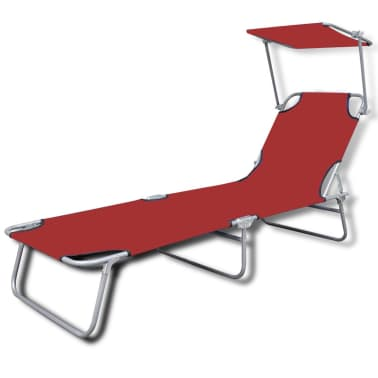 vidaXL Folding Sun Lounger with Canopy Steel and Fabric Red[2/7]