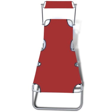 vidaXL Folding Sun Lounger with Canopy Steel and Fabric Red[3/7]