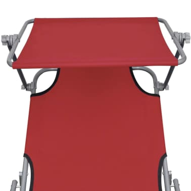 vidaXL Folding Sun Lounger with Canopy Steel and Fabric Red[4/7]