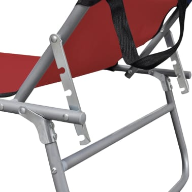 vidaXL Folding Sun Lounger with Canopy Steel and Fabric Red[5/7]