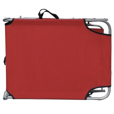 vidaXL Folding Sun Lounger with Canopy Steel and Fabric Red[6/7]
