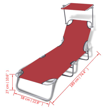 vidaXL Folding Sun Lounger with Canopy Steel and Fabric Red[7/7]